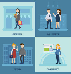 Business mother square composition vector