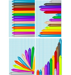 Set of backgrounds with crayons vector