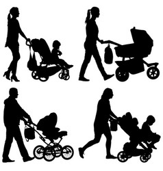 Set black silhouettes family with pram on white vector