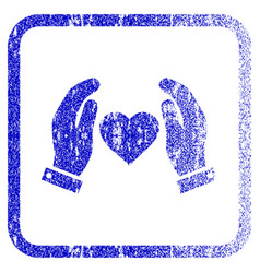 Love care hands framed textured icon vector