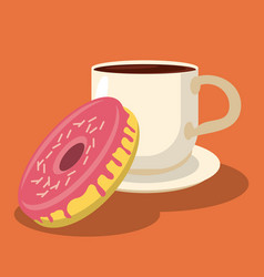 sweet donut and cup beverage hot food vector image
