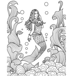 Beautiful mermaid swimming under the sea for adult vector