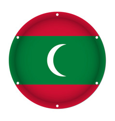 Round metallic flag of maldives with screw holes vector