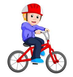 boy cycling cartoon vector image