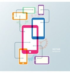 Colorful cellphone smartphone and gear icon vector