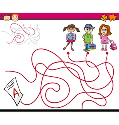 Paths or maze cartoon game vector