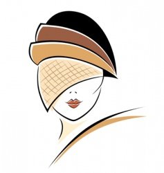 Vintage woman in a hat vector