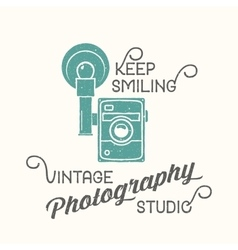 Vintage camera photography studio label vector