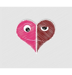 Heart with two faces vector