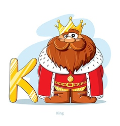 Cartoons alphabet letter k with funny king vector