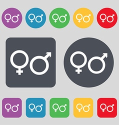 Male and female icon sign a set of 12 colored vector