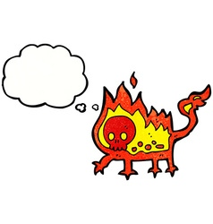 Cartoon little fire demon with thought bubble vector