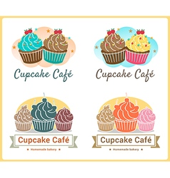 Set of sweet cupcake bakery badge label design vector