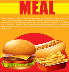 Meal poster with hamburger and fries vector