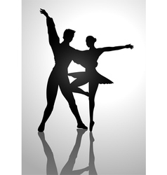 Ballet couples silhouette vector