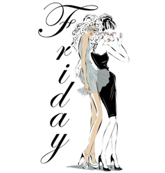 Fashion women models in sketch style vector image