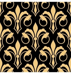 Golden retro fleur-de-lis seamless pattern vector
