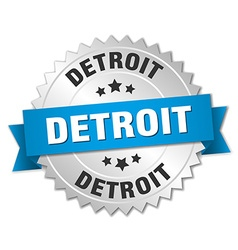 Detroit round silver badge with blue ribbon vector