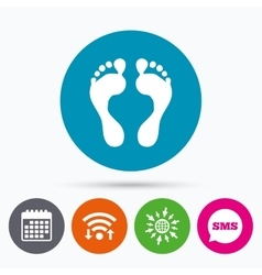 Human footprint sign icon barefoot symbol vector