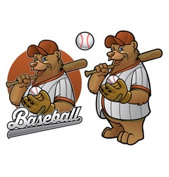 bear cartoon baseball player vector image