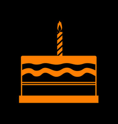 Birthday cake sign orange icon on black vector