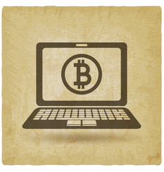 bitcoin symbol on laptop screen vintage background vector image vector image