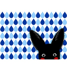 Black rabbit blue raindrops background vector