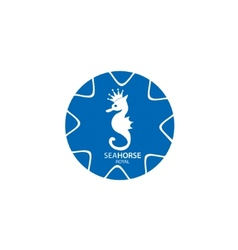 Blue and white seahorse business logo vector image