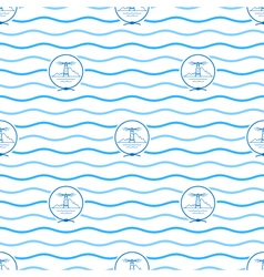 Blue lighthouse seamless pattern vector