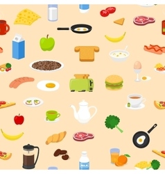 Breakfast food and drinks seamless pattern Good vector image vector image