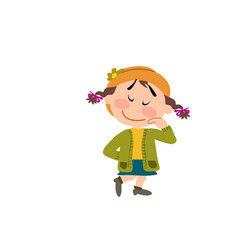 cartoon character of a shy girl vector image