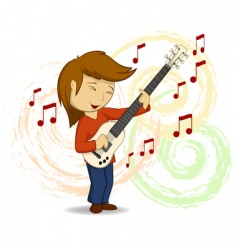 cartoon guitar player vector image vector image
