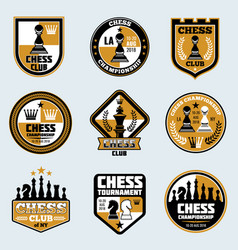 chess club labels business strategy logos vector image vector image