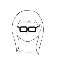 Dotted shape default avatar woman to social user vector