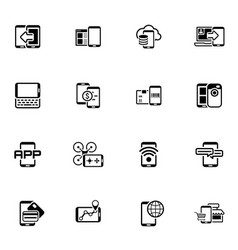 Flat design mobile devices and services icons set vector