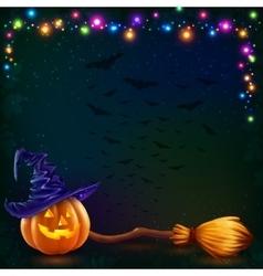 Halloween pumpkin and witch broom on dark vector image vector image