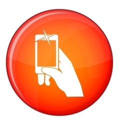 Hand taking pictures on cell phone icon vector