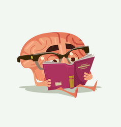 Happy smiling brain character read book vector