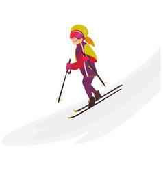 Happy teenage girl skiing downhill winter sport vector