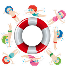 kids in swimming suit around safety float vector image