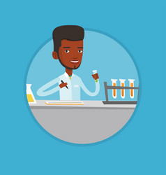 Laboratory assistant working with test tubes vector