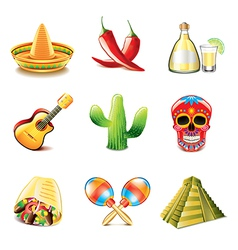 mexican culture icons vector image vector image