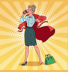 pop art business woman hurries to work busy girl vector image vector image