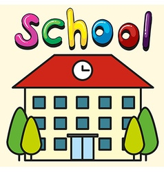 School building with clock on roof vector image