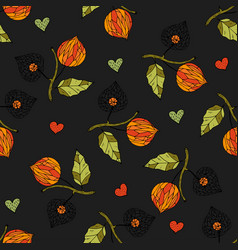 seamless autumn pattern with physalis vector image vector image