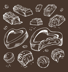 Set of sketches bitten chocolates sweet vector