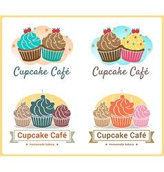 Set of sweet cupcake bakery badge label design vector