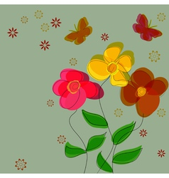 Simple flower background with butterflies vector image vector image