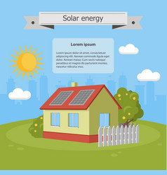 Solar energy panels house ecology vector