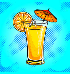 summer cocktail pop art vector image vector image